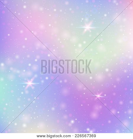 Holographic Abstract Background. Colorful Holographic Backdrop With Gradient Mesh. 90s, 80s Retro St