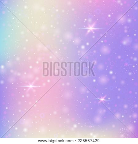 Unicorn Background With Rainbow Mesh. Kawaii Universe Banner In Princess Colors. Fantasy Gradient Ba