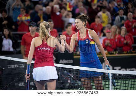 Cluj Napoca, Romania - February 11, 2018: Romanian Tennis Player Irina Begu And Canadian Katherine S