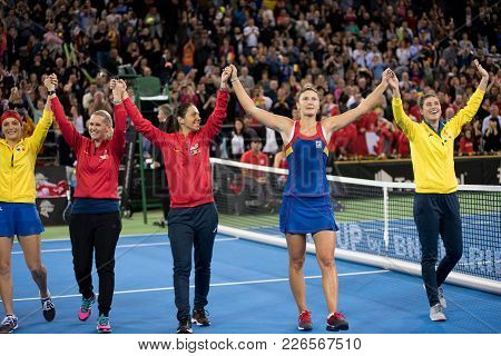 Tennis Players Celebrating Victory