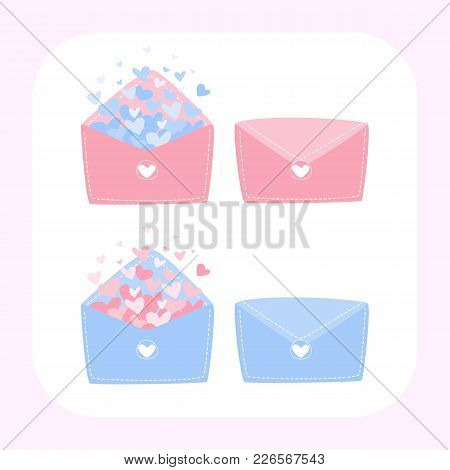 Letter Of Love, Set Of Letter Of Love, Heart Floating Out Of Envelope, Cute Letter, Love Card For Va