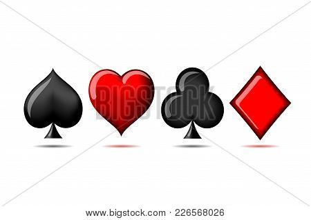 Suit Of Playing Cards. Vector Illustration 3d Symbols Isolated On White Background