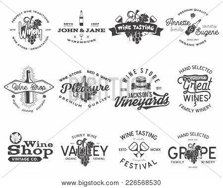 Wine Black Logos, Labels Set. Winery, Wine Shop, Vineyards Badges Collection. Retro Drink Symbol. Ty