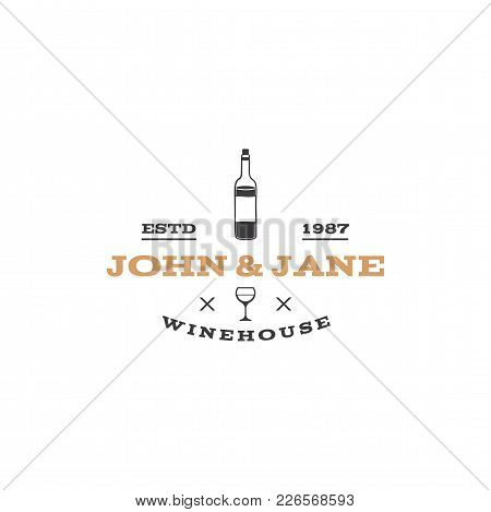 Wine, Winery Logo Template. Winehouse Logotype. Vine Bottle Icon And Typography Design. Winery, Prem