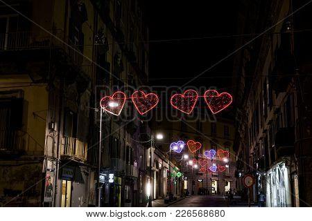 Naples, Italy - February 09 2018: Valentines Day Illuminated Hearts On The City Streets.