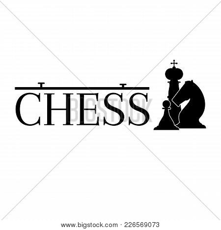 Chess Game Logotype Illustration. King, Knight And Pawn Figures