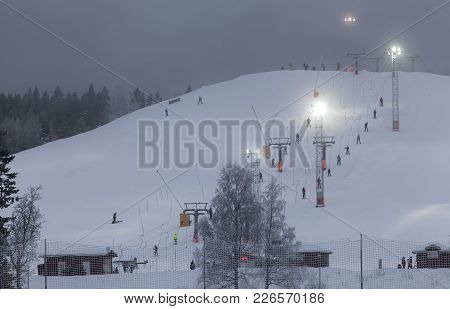Umea, Sweden On January 13. View Of A Downhill Slope And Visitors On January 13, 2018 In Umea, Swede