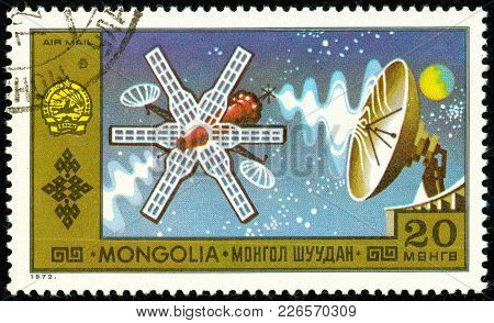 Ukraine - Circa 2018: A Postage Stamp Printed In Mongolia Show Spacecraft. Series: National Achievem