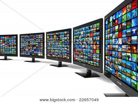 Zeile mit Widescreen HD anzeigt, mit mehreren Bildern