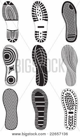 Vector illustration set of footprints