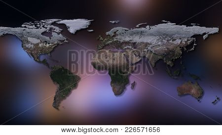 3d Rendering Of Planet Earth. You Can See Continents, Cities, The Borders Of The Seas And Oceans. El