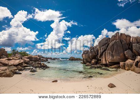 Tropical Beach On La Digue Island, Seychelles