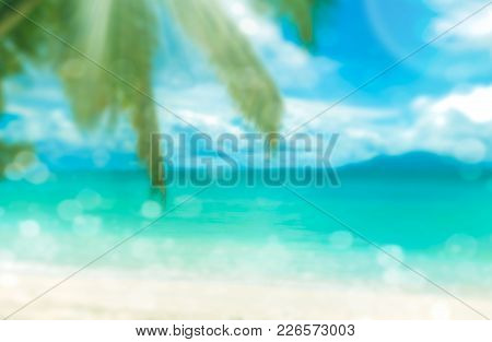 Defocused Tropical Beach With Palm. Perfect Vacation Background.