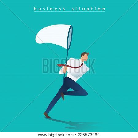 Businessman Holding A Butterfly Net Vector Illustration