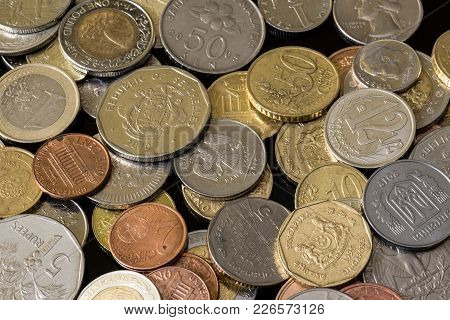 Coins From Different Countries. Nice Money Background.