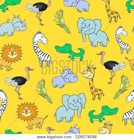 Seamless Pattern With Cute Smiling Giraffe, Zebra, Crocodile, Elephant, Parrot, Lion, Ostrich With F
