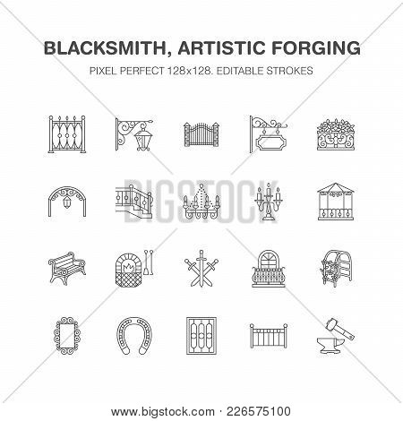 Forged Metal Products, Artistic Forging Vector Flat Line Icons. Blacksmith , Window Fence, Gate, Rai