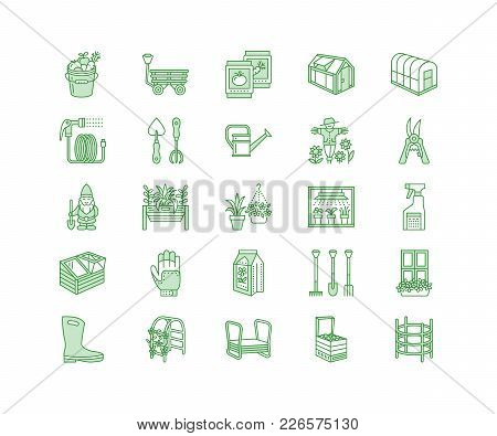 Gardening, Planting Horticulture Line Icons. Garden Equipment, Organic Seeds, Fertilizer, Greenhouse