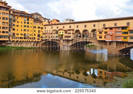Ponte Vecchio In Florence In Italy At The Morning