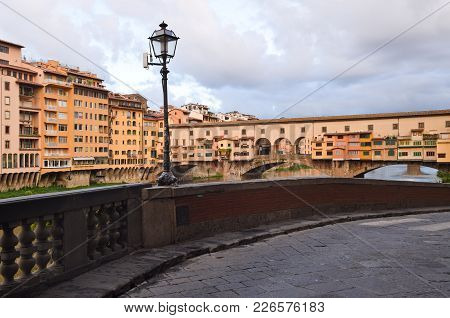 Ponte Vecchio In Florence In Italy At The Morning.
