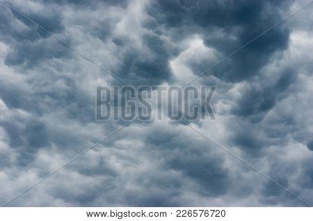Dark Pre-storm Clouds In Summer Sky Under Ukraine.