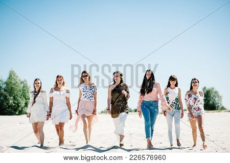 Beautiful Stylish Happy Sexy Slim Young Girls Is Go Sand Beach. Party In Style Boho. Maiden Evening