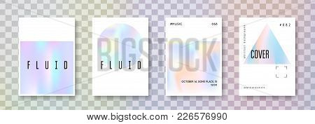 Fluid Poster Set. Abstract Backgrounds. Neon Fluid Poster With Gradient Mesh. 90s, 80s Retro Style.