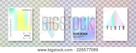 Fluid Poster Set. Abstract Backgrounds. Retro Fluid Poster With Gradient Mesh. 90s, 80s Retro Style.