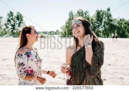Beautiful Happy Stylish Sexy Young Girls Stand Beach. Show Sincere Smiles. Party In Style Boho. Maid