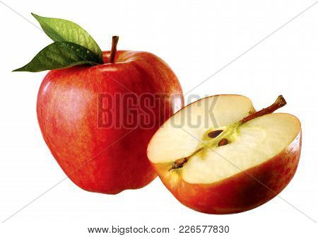 red apple with apple cut in half