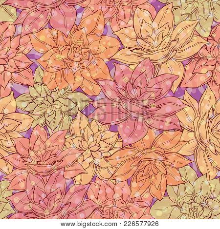 Seamless Floral Background, Tile Pattern, Colorful Narcissus Flowers. Vector