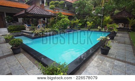 Luxurious Open Air Swimming Pool At Resort. Swimming Pool With Turquoise Water In A Luxury Hotel. Tr