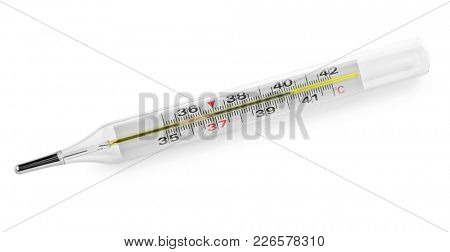 Mercury thermometer on white background