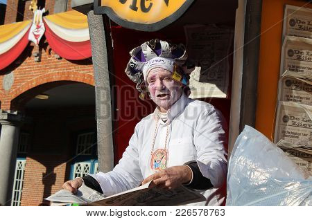 Aalst, Belgium, 12 February 2018: Unknown Aalst Carnival Participant Celebrates During The Annual St