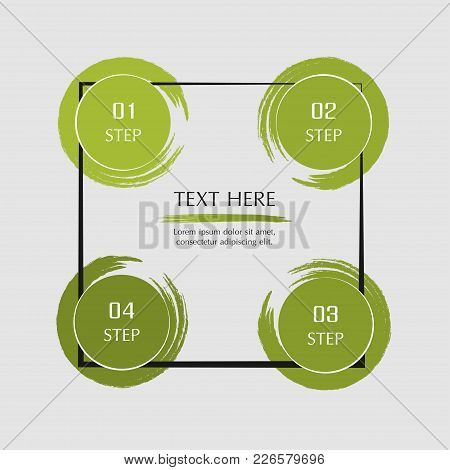 Abstract Infographic Template With 4 Steps For Success. Business Template With Four Options For Pres
