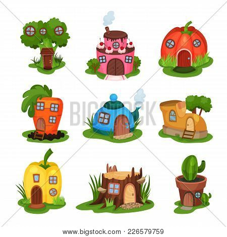 Cartoon Set Of Fairy-tale Houses In Various Shapes. Home In Form Of Broccoli, Cake, Pumpkin, Carrot,