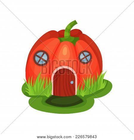 Cartoon Fantasy House In Shape Of Red Pumpkin With Round Windows And Wooden Door. Magic World. Fairy