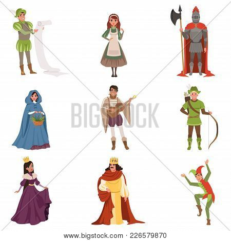 Medieval People Characters Of European Middle Ages Historic Period Vector Illustrations On A White B