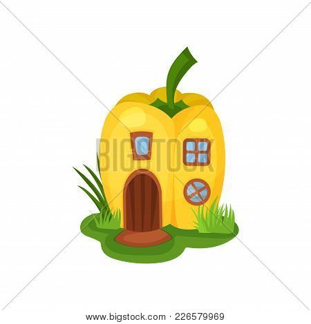 Cartoon Illustration Of Fantasy House In Shape Of Yellow Pepper. Home With Wooden Arched Door, Squar