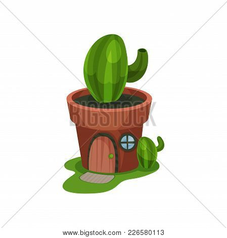 Colorful Fantasy House In Form Of Green Cactus In Pot. Home With Wooden Arched Door And Small Round
