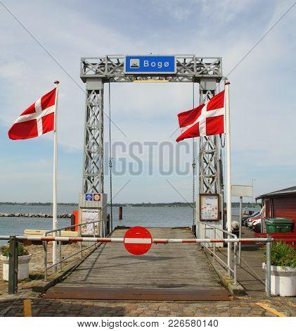 Stubbekøbing.june-09-2017. Dock Fortress Boat From Stubbebkøbbing To Bogø On Thuisland Falster. Denm