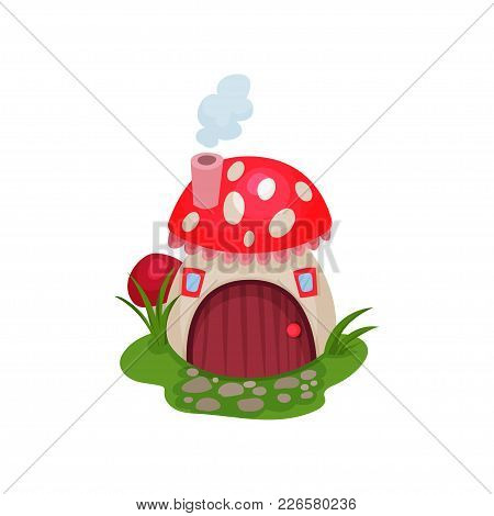 Cartoon Hobbit House In Form Of Mushroom With Red Spotted Roof. Fantasy Home With Wooden Door And Ti