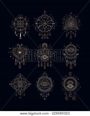 Dreams Traps Set, Traditional American Indian Dream Catcher Vector Illustrations On A Black Backgrou