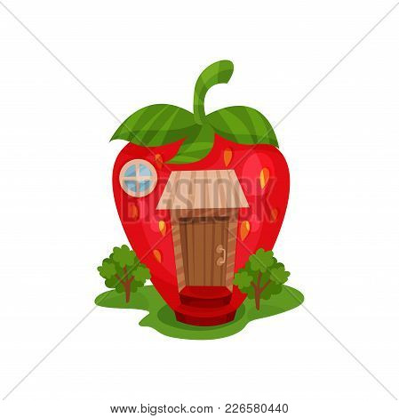 Cartoon Illustration With Fairy House In Form Of Red Ripe Strawberry And Green Trees On The Grass. M