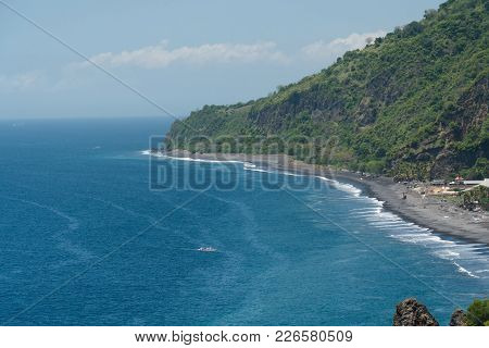 Rocky Coast With High Cliffs, Sea Coast, Ocean, Mountains, Sea, Beach, Sky, Clouds. Bali, Sea Surf W