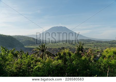 Aerial View Town Near Volcano Agung, Rice Terrace, Farmlands, Village, Fields With Crops, Agricultur
