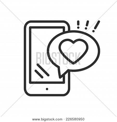 Smartphone With Heart Emoji Message On Screen Line Icon. Love Confession Like Sign And Symbol. Love