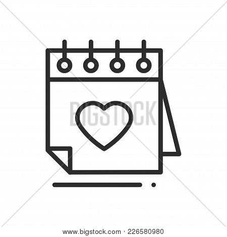 Calendar Line Icon. Reminder. Happy Valentine Day Sign And Symbol. Love Couple Relationship Dating W