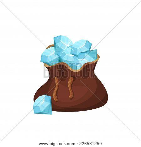 Large Brown Bag Full Of Precious Stones. Blue Shiny Diamonds. Valuable Gemstones. Design Element For