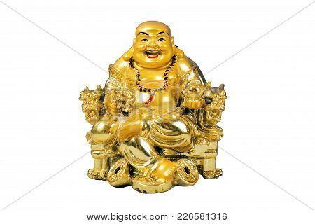 God of Wealth (Caishen) is the Chinese god of prosperity worshipped in the Chinese folk religion and Taoism. Isolated on white background. poster